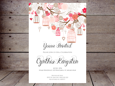 pink and red birdcage editable invitation