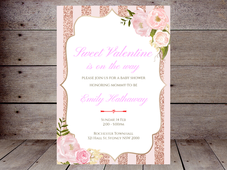 sweet valentine invitation pink and rose gold