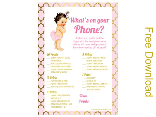 free whats in your phone princes girl baby shower