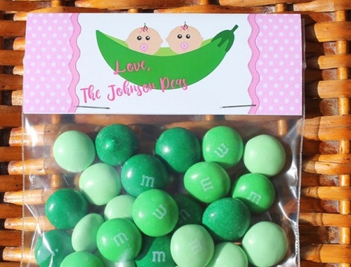 2 Peas in a Pod twin party favors