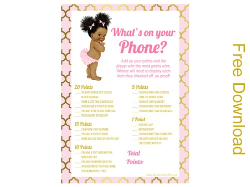 2 free whats in your phone princes girl baby shower african american