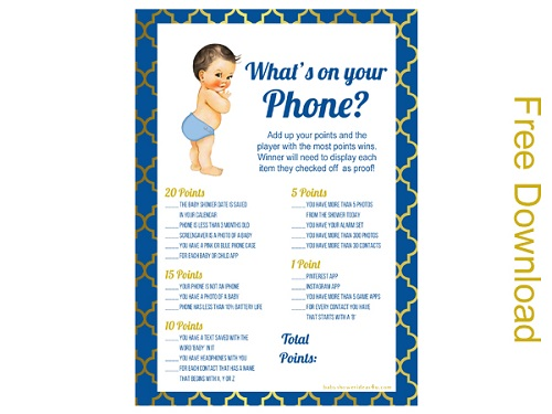 free whats in your phone Prince boy baby shower brunette