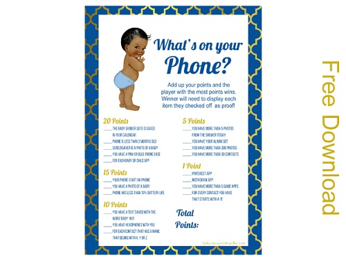6 free whats in your phone Prince boy baby shower african american