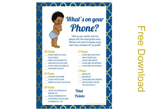 free whats in your phone Prince boy baby shower african american cute
