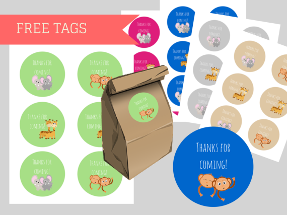 Free Twin baby shower thank you tags