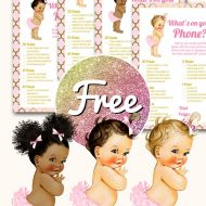 Free Pink whats in your phone baby shower template in princess theme