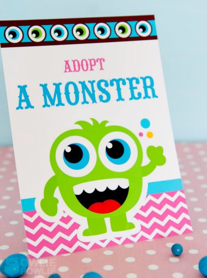 Girl MONSTER BASH BABY SHOWER adopt a monster sign