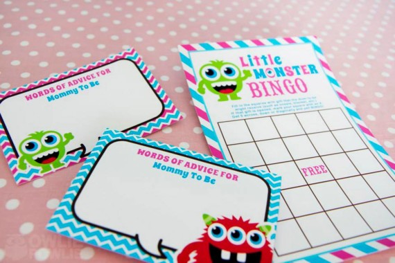 Girl MONSTER BASH BABY SHOWER advice for mommy and bingo baby shower games