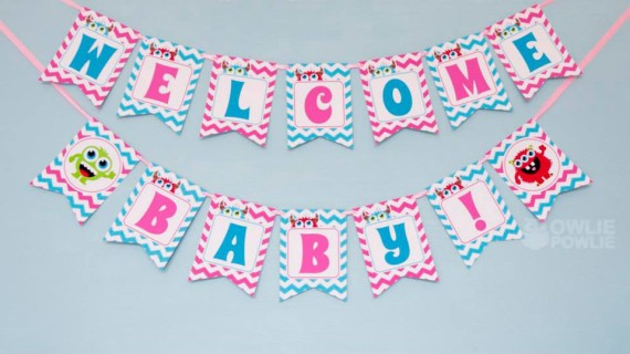Girl MONSTER BASH BABY SHOWER banner