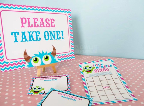 Girl MONSTER BASH BABY SHOWER bingo game