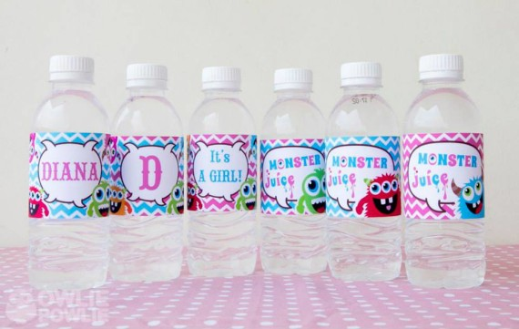 Girl MONSTER BASH BABY SHOWER bottle wrapper
