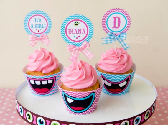 Girl MONSTER BASH BABY SHOWER cupcake toppers