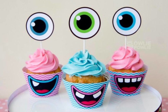 Girl MONSTER BASH BABY SHOWER cupcake toppers with monster eye