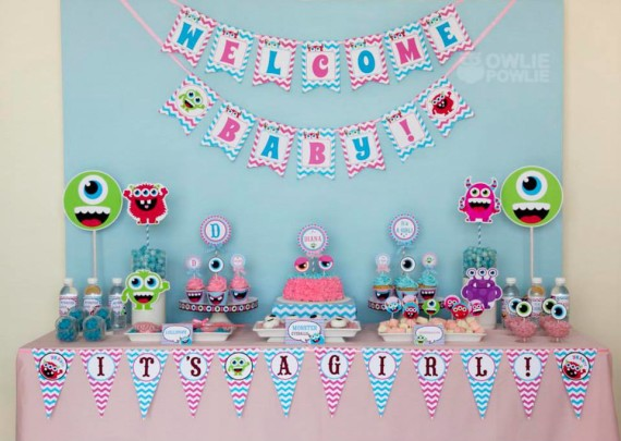 Girl MONSTER BASH BABY SHOWER dessert table