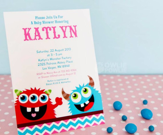 Girl MONSTER BASH BABY SHOWER invitation