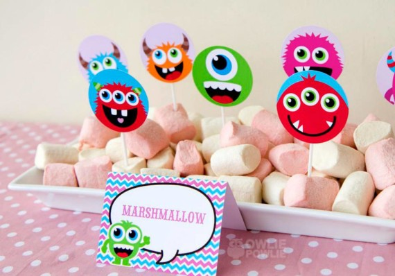Girl MONSTER BASH BABY SHOWER marshmallows
