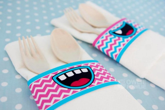 Girl MONSTER BASH BABY SHOWER napkin ring