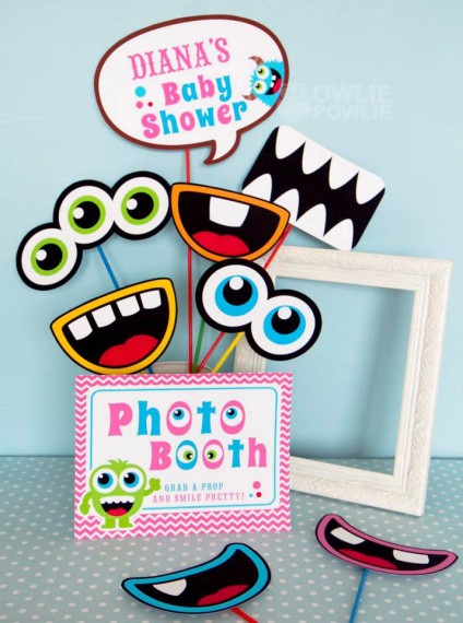 Girl MONSTER BASH BABY SHOWER photobooth