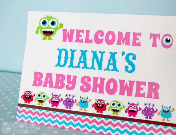 Girl MONSTER BASH BABY SHOWER welcome sign