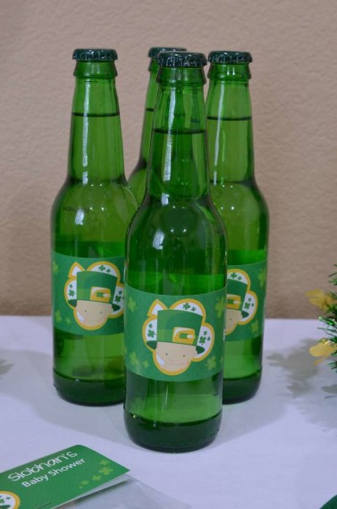 St-Patricks-Baby-Shower-Little-Shamrock-is-on-the-way-drinks-with-cute-labels