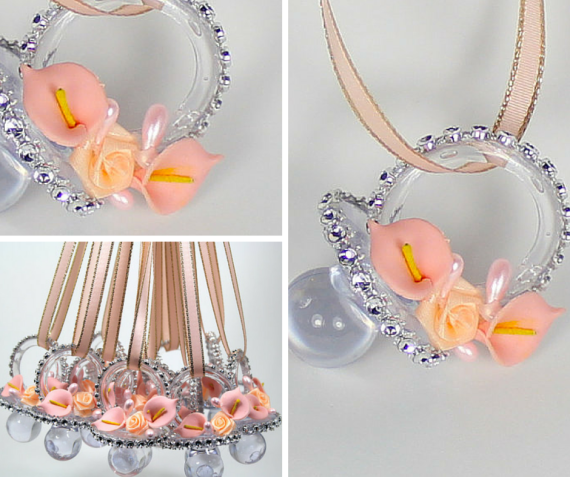 Such a pretty Peach Baby Shower Pacifier Necklace