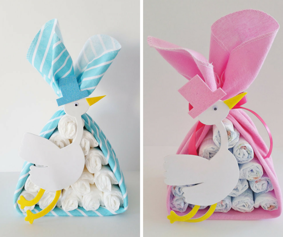 These Stork bundles are so cute~~~ makes great centerpiece and gift! by LilLoveBugsCreations