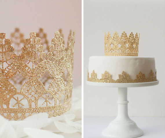 Gold & Lace Cake Topper is so beautiful