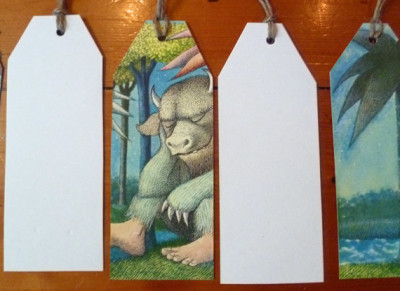 Where the Wild Things Are Gift tags, nursery, party, book club, upcycled repurposed, Maurice Sendak, baby shower