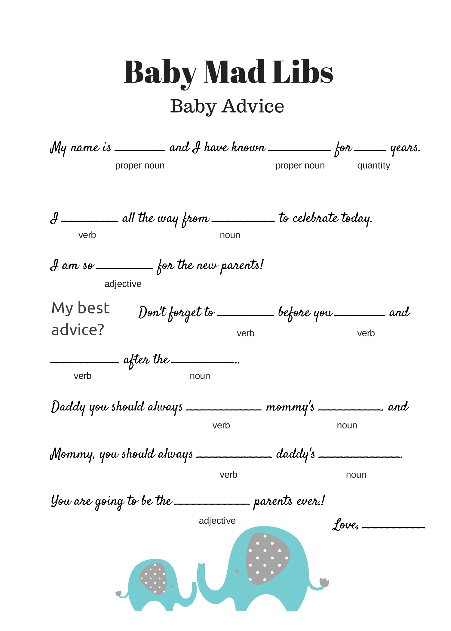 graphic about Mad Libs Printable Pdf named No cost Youngster Crazy Libs Sport - Kid Information - Child Shower Plans