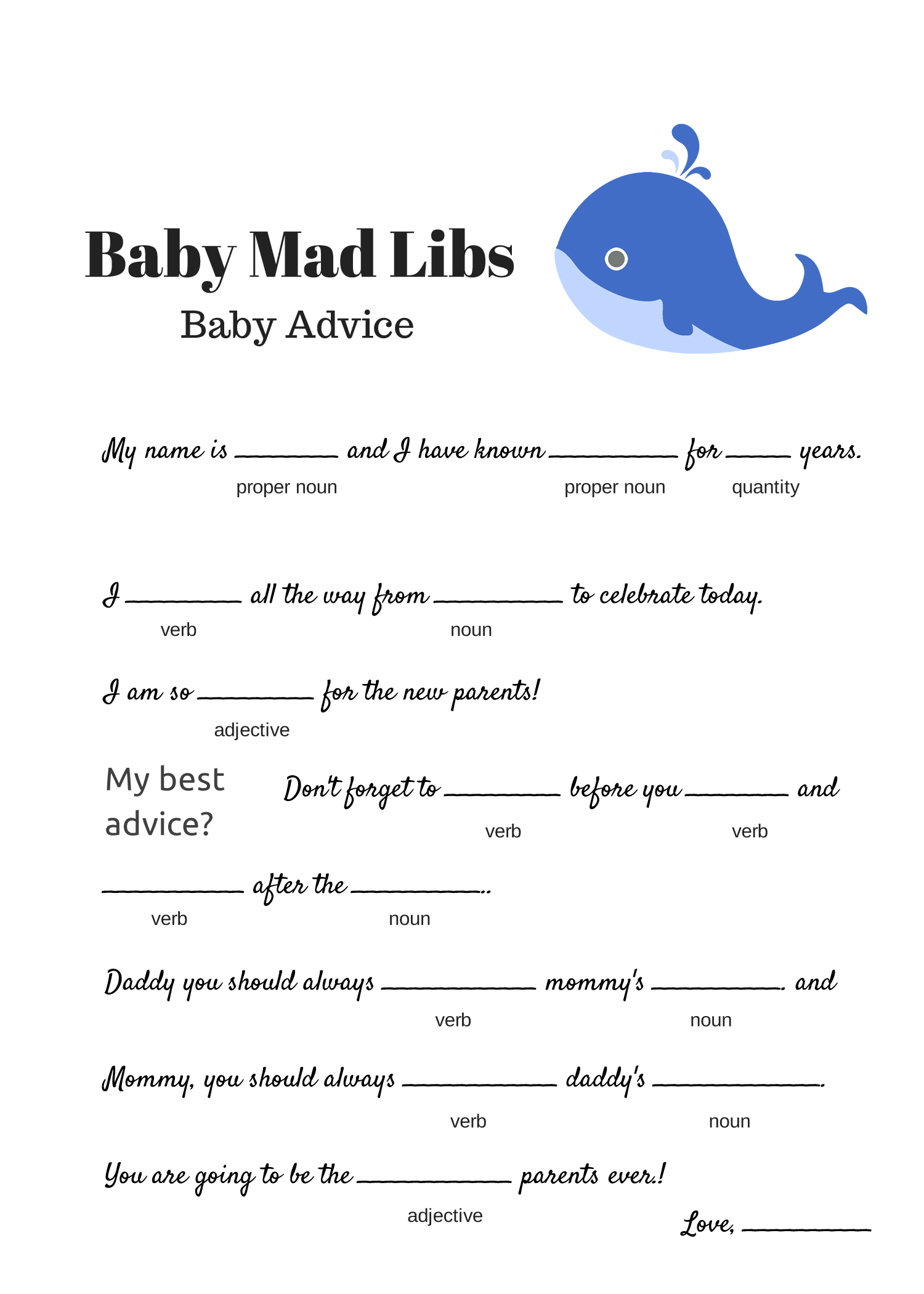 photograph regarding Mad Libs Online Printable Free called Free of charge Youngster Insane Libs Video game - Youngster Information - Youngster Shower Options