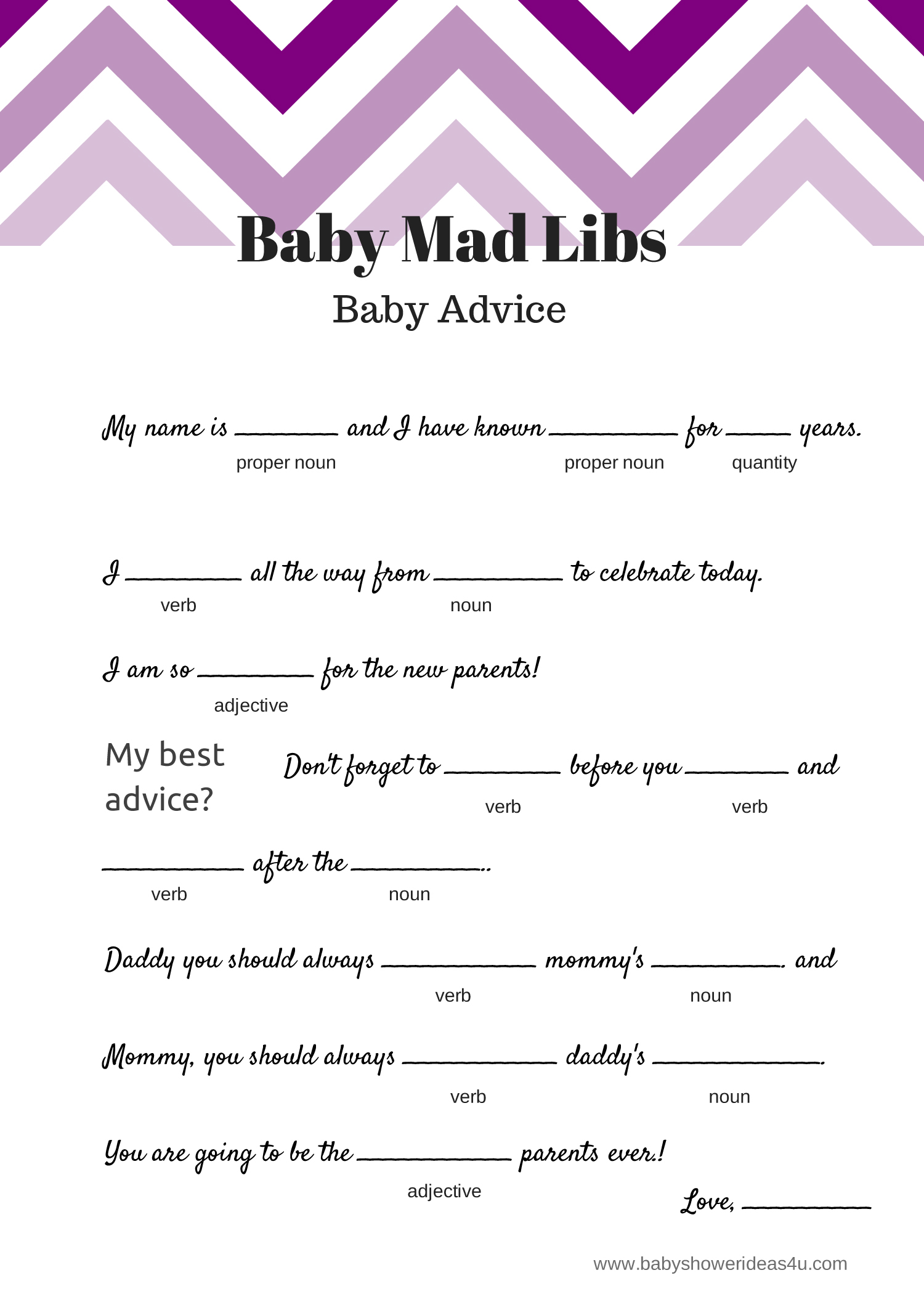 graphic about Printable Mad Libs for Adults Pdf identified as Totally free Kid Ridiculous Libs Activity - Little one Suggestions - Kid Shower Guidelines