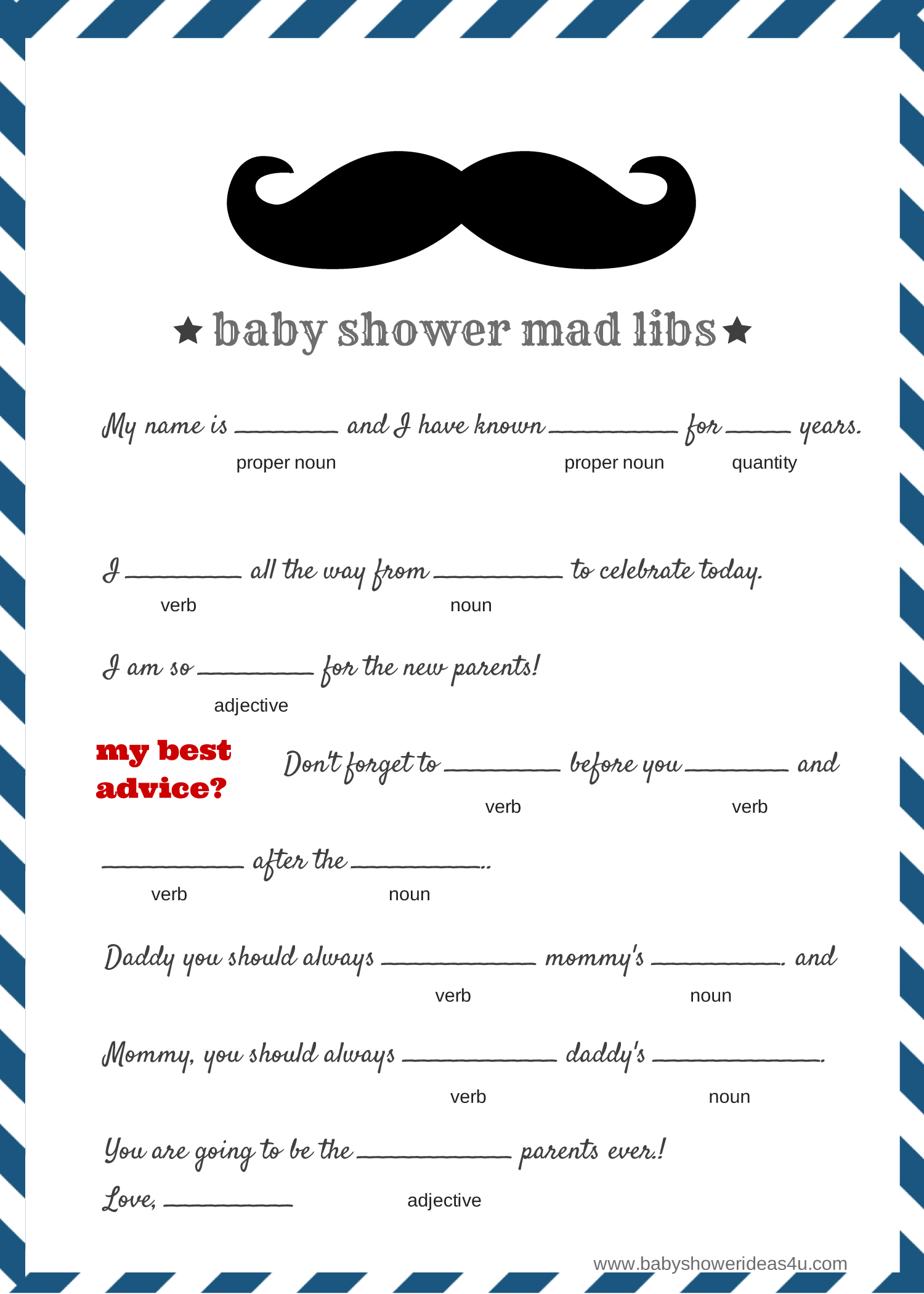 FREE Baby Mad Libs Game - Baby Advice - Baby Shower Ideas ...