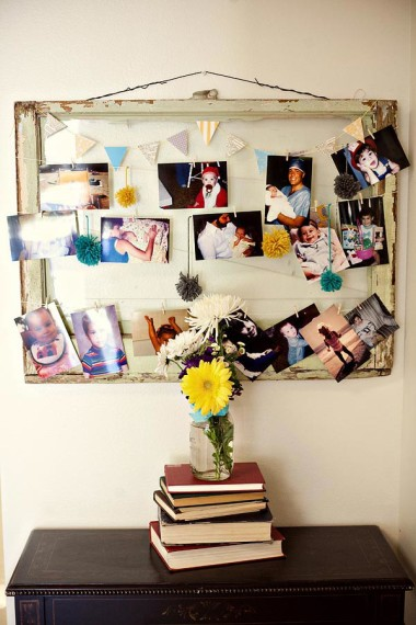 vintage beat-up frame array of family photos