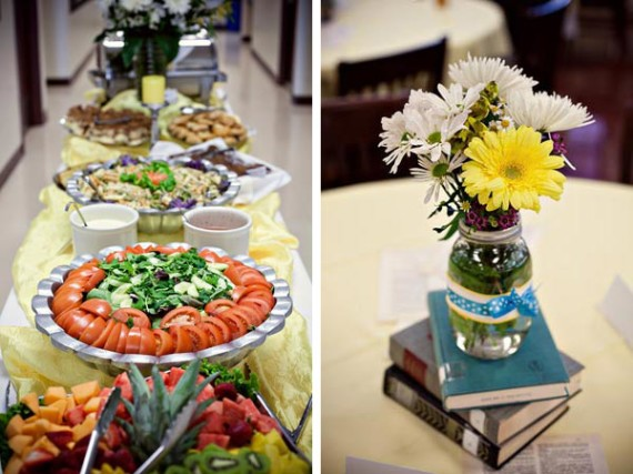 buffet style food for library theme
