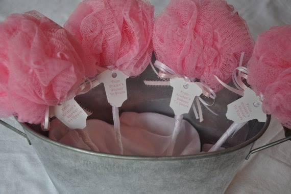 Pink Baby Rattle Bath Puff Baby Shower Favor