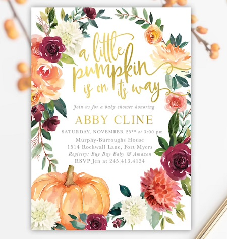 A little Pumpkin is on Its Way Fall Baby Shower Invitation
