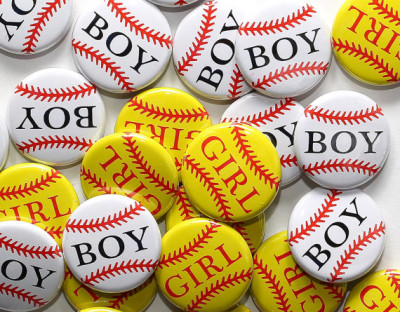 Baby Shower 1 Pinbacks - Baseball Boy Softball Girl - Gender Reveal Party Favors