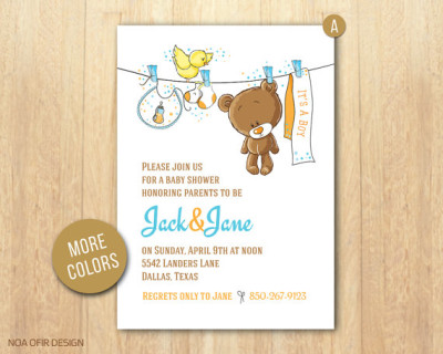 Baby Shower Invitation, Baby Boy Invitation, Teddy Bear Baby Shower Invitation