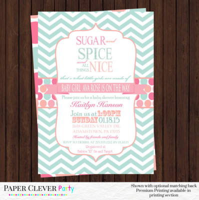 Baby girl shower invitations coral and mint - sugar and spice girls shower mint chevron