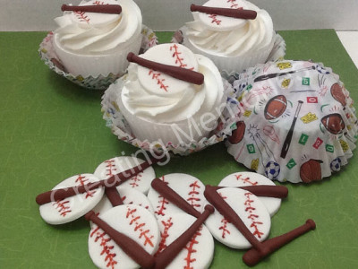 Baseball EDIBLE TOPPERS for Cupcake Cookies or Cake Decorations Set of twelve toppers. For your young player on your life, baseballs and bat