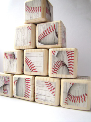 Baseball wooden Baby Blocks