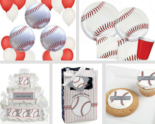 Batter Up - Baseball - Personalized Baby Shower Square Diaper Cakes - 3 Tier, balloon kit, cupcake toppers, tableware