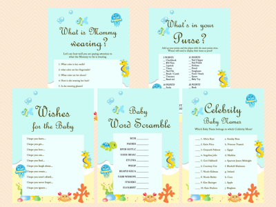 Beach, Sea, Under the Sea Baby Shower Game Printables, Beach Baby Shower Game Pack, Instant Download, Sea Animals TLC19