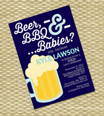 Beer and Diaper Party Invitation, Man Shower, Beer, BBQ and Babies, Dudes and Diapers Baby Shower Invitation