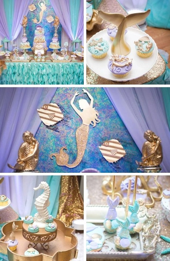 Blue Green Under The Sea Baby Shower tablescape