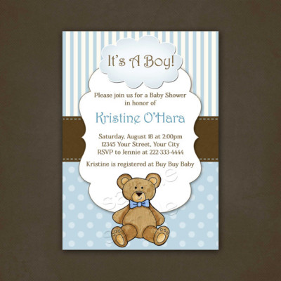 Boy Teddy Bear Baby Shower Invitation Printable