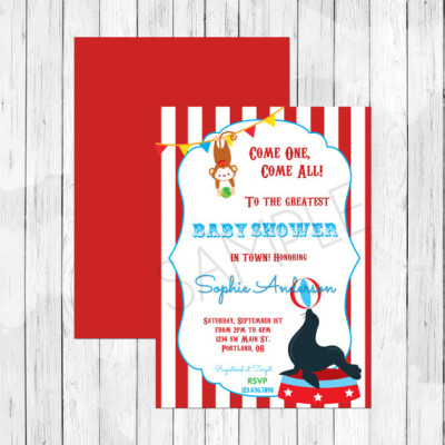 Carnival Circus Themed Baby Shower Invitation - Circus Lion Invitation - Double Sided Evite