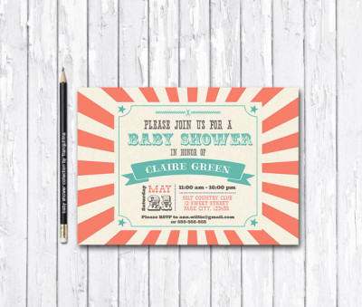 Circus Baby Shower Invitation Printable