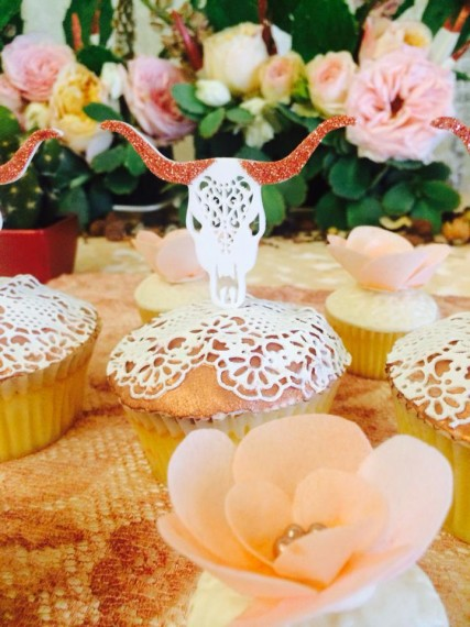 Desert & Rose Inspired Celebration cupcake toppers