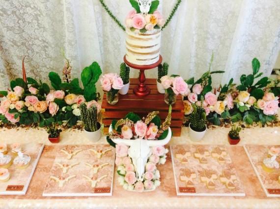 Desert & Rose Inspired Celebration dessert table with stunning naked cake